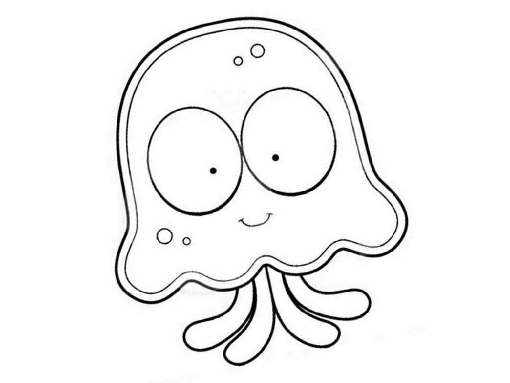 Jellyfish Coloring Page Cute