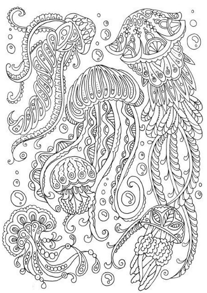 Jellyfish Coloring Page Mandala