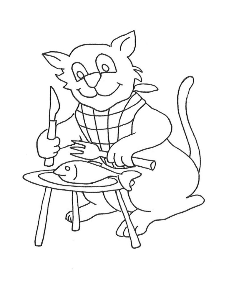 Kitten Coloring Pages Eating