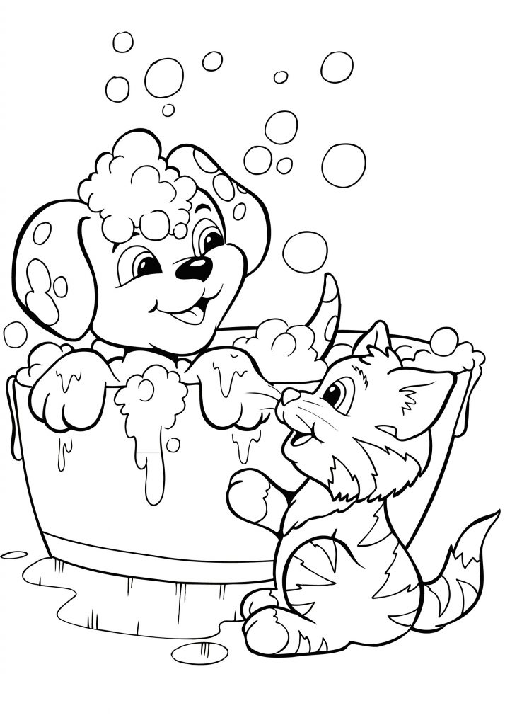 Kitten and Puppy Coloring Pages'