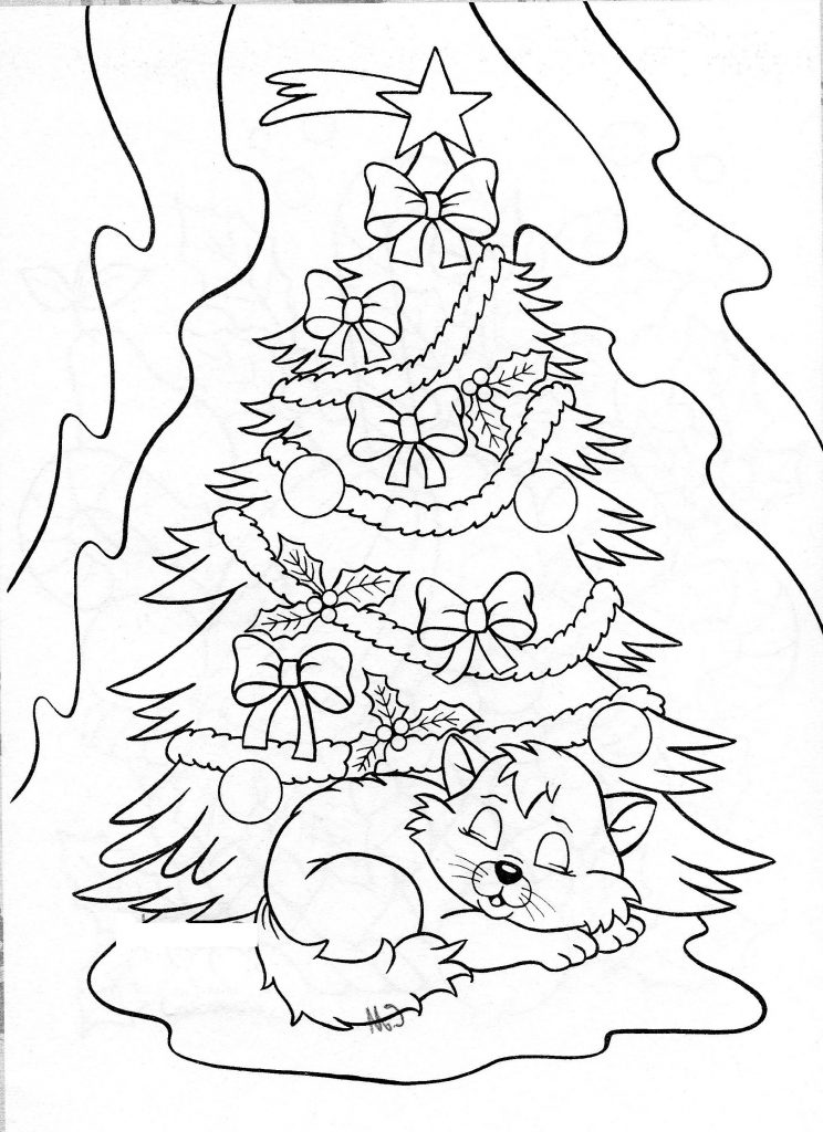 Kitty Cat Coloring Pages Christmas