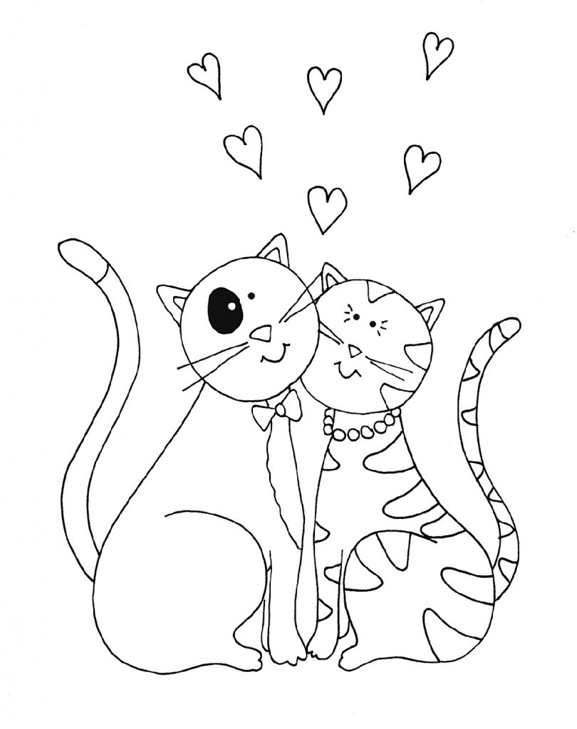 Kitty Cat Coloring Pages Valentine
