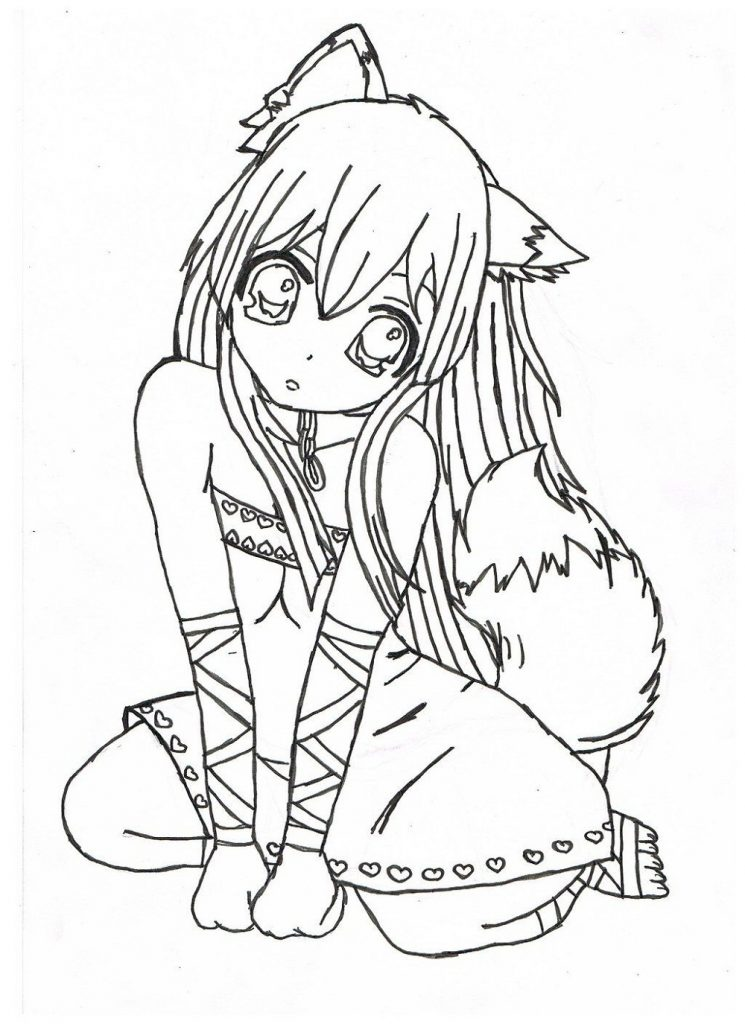 Manga Coloring Pages Cat Girl