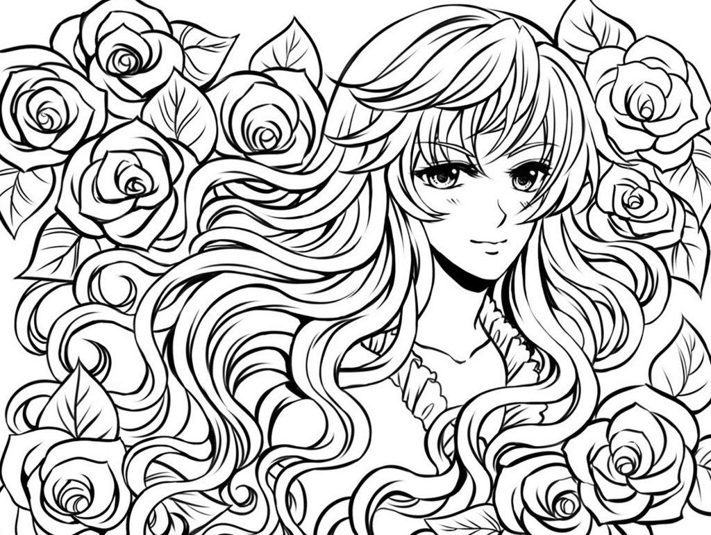 Manga Coloring Pages Long Hair