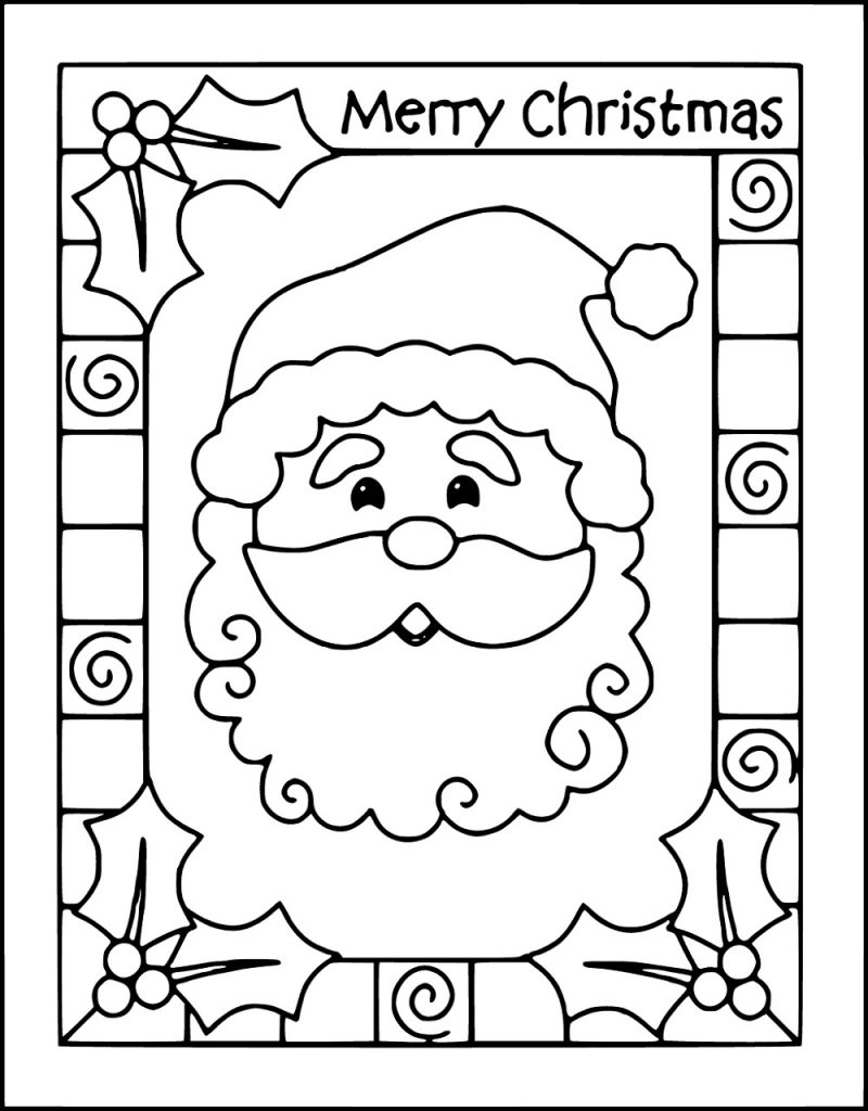 Merry Christmas Coloring Pages Card