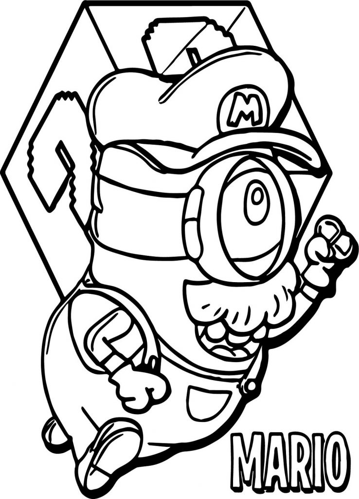 Minion Coloring Pages Super Mario