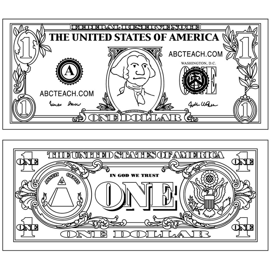 Money Coloring Pages Dollar