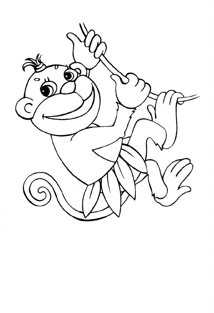 Monkey Coloring Pages Jumping
