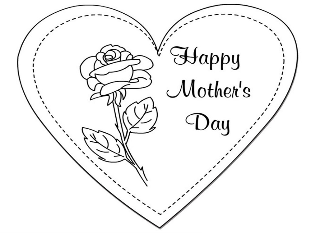 Mothers Day Coloring Pictures Card