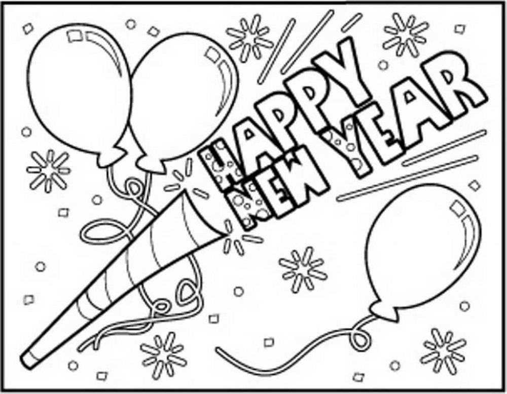 New Years Coloring Pages Confetti