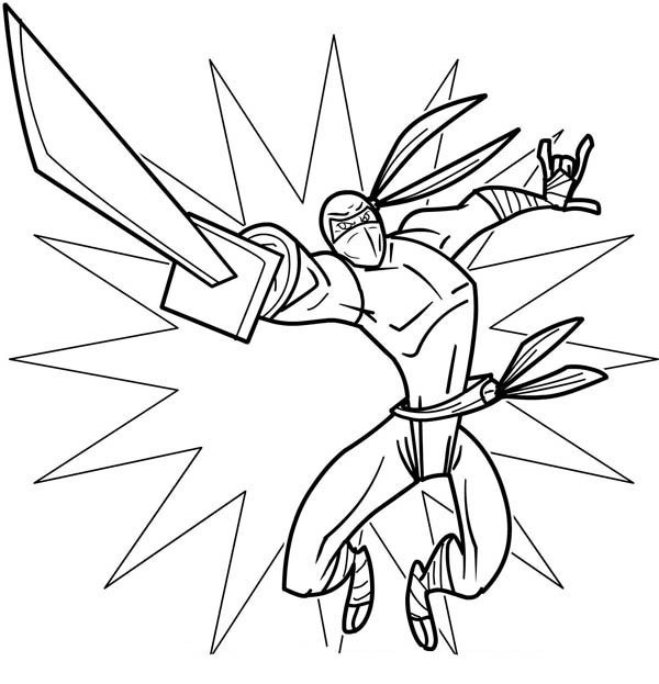 Ninja Coloring Pages With Sword