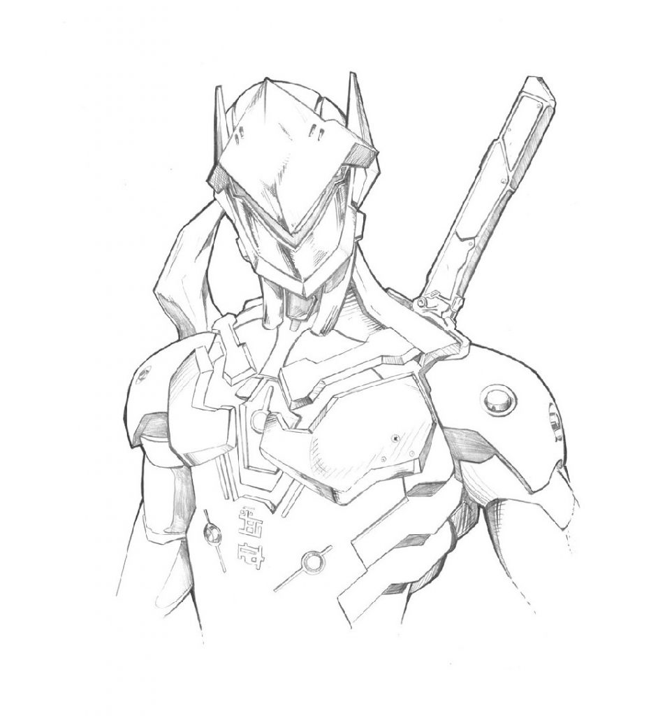 Overwatch Coloring Pages Genji