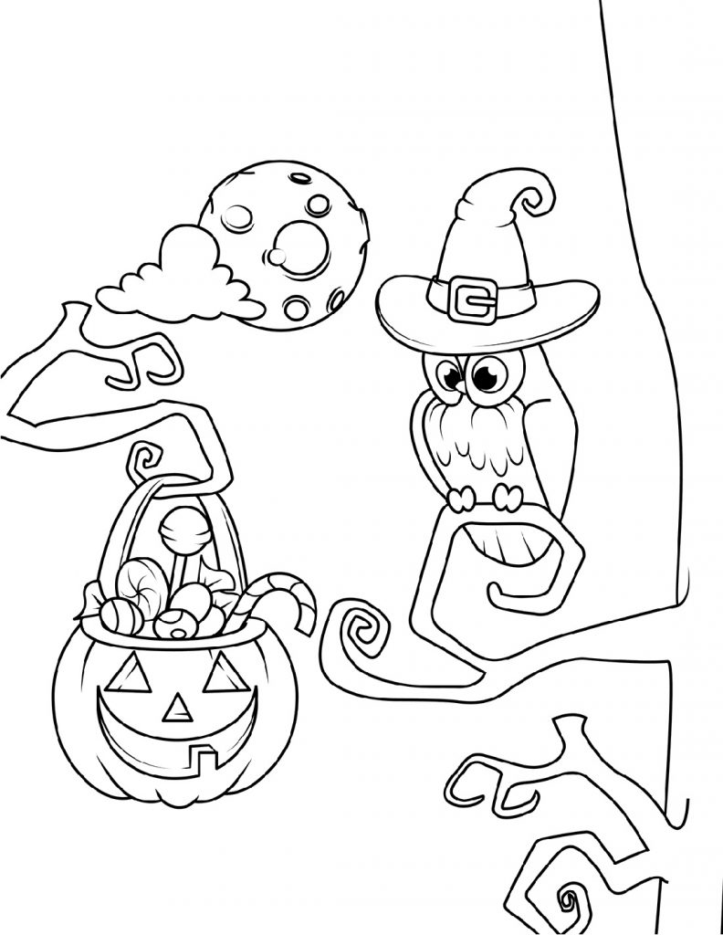 Owl Coloring Pages Halloween