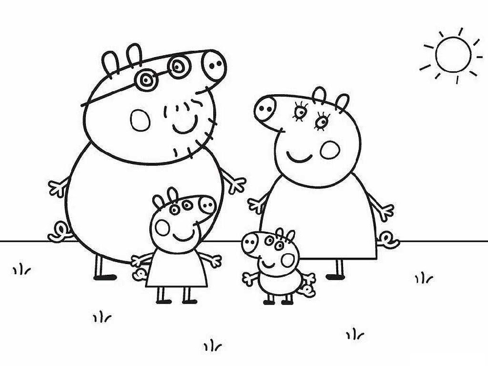 Peppa Pig Coloring Pages Family