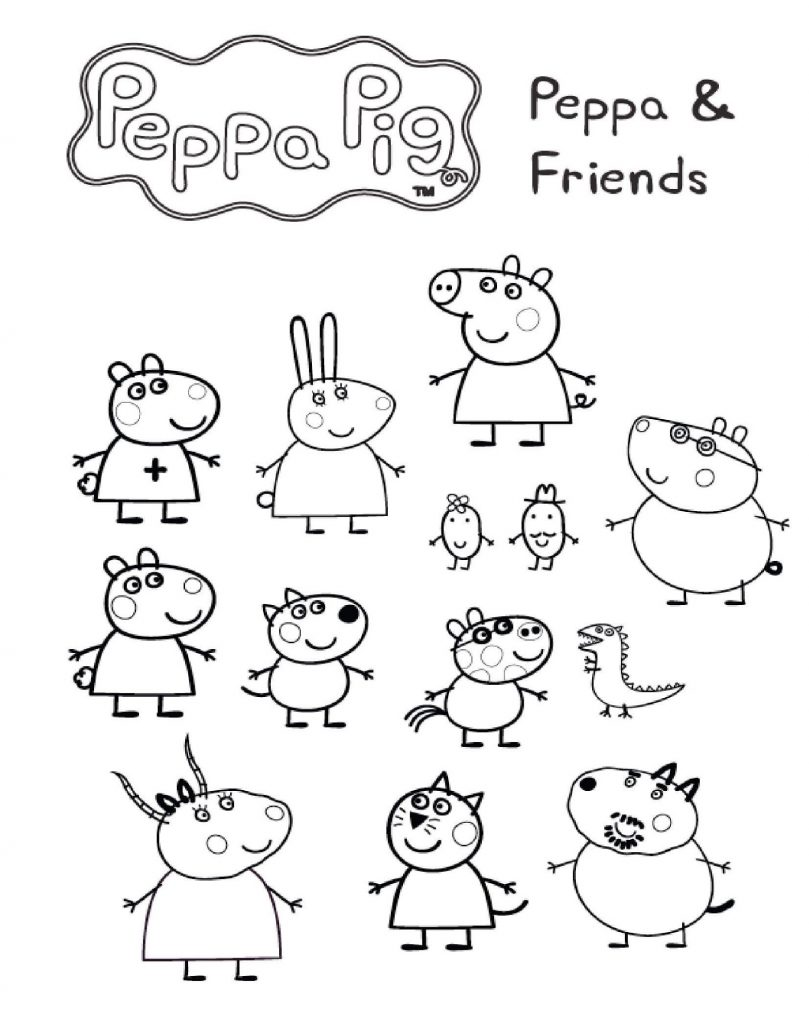 Peppa Pig Colouring Sheets And Friends