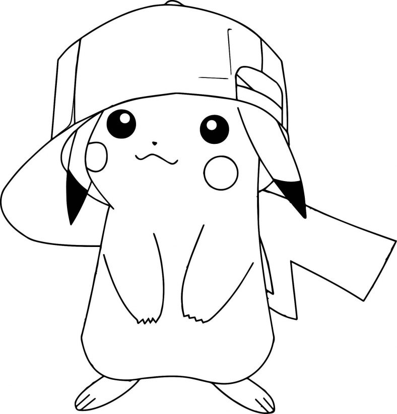 Pikachu Coloring Pages With A Hat