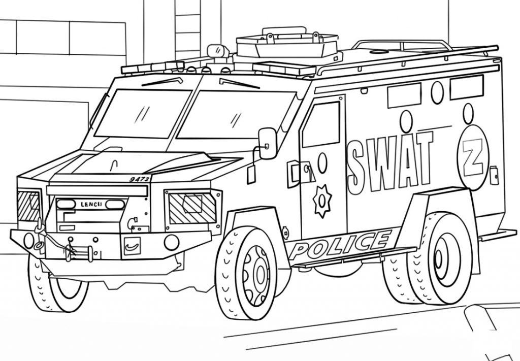 Police Truck Coloring Pages