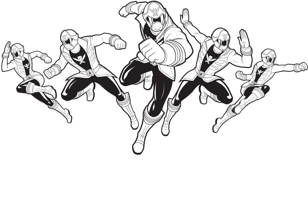 Power Rangers Coloring Pages Team