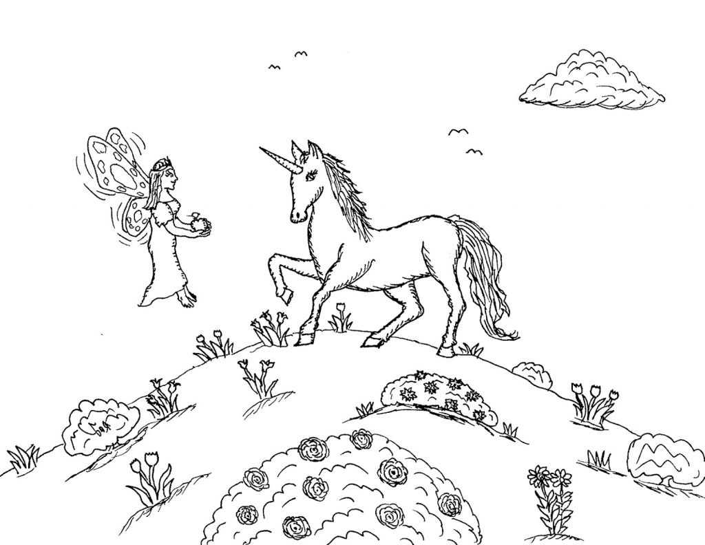 Princess Fairy And Unicorn Coloring Pages