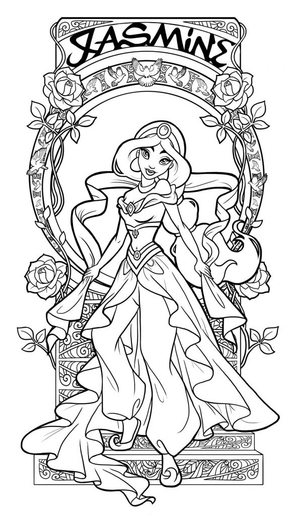Princess Jasmine Coloring Pages For Adults