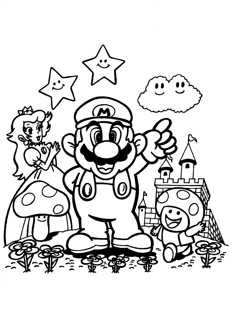 Princess Peach Coloring Pages And Mario