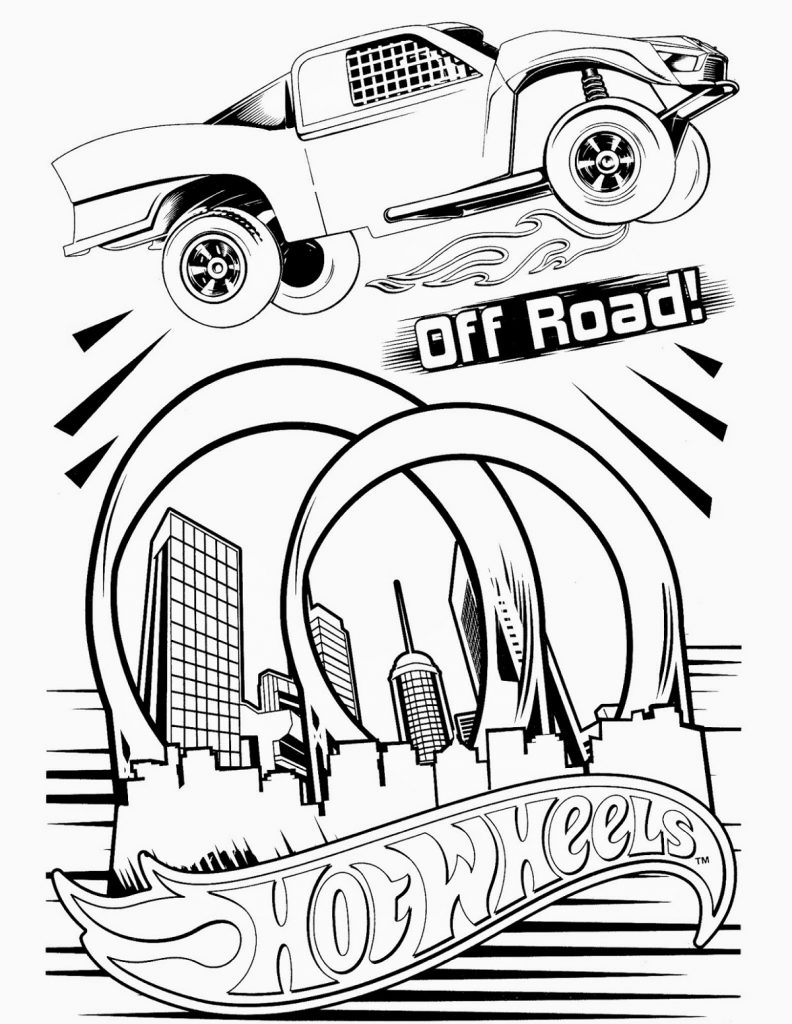 Race Car Coloring Pages Hot Wheels