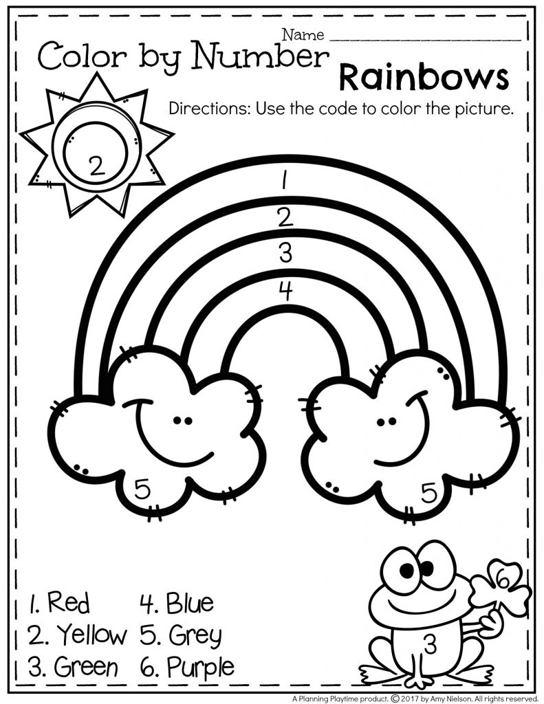 Rainbow Color By Number Easy