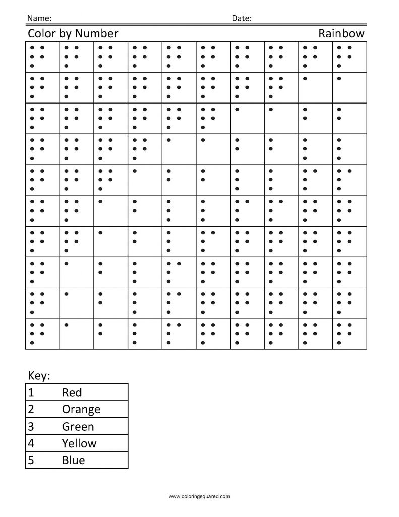 Rainbow Color By Number Worksheet
