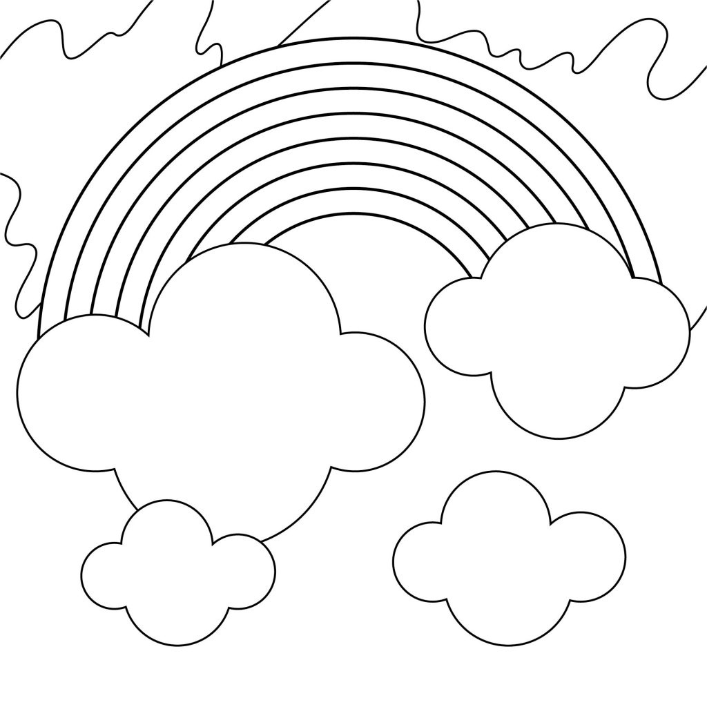 Rainbow Coloring Page Clouds