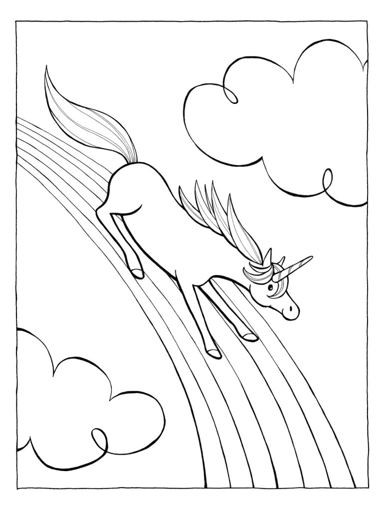 Rainbow Coloring Page Unicorn