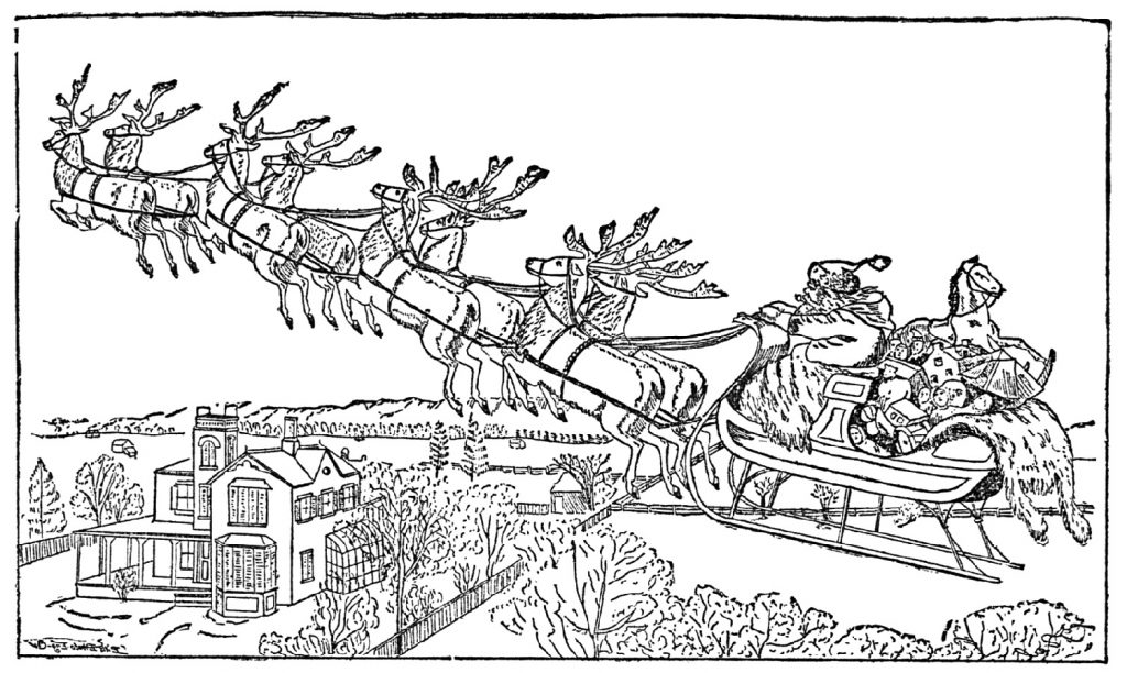 Reindeer Coloring Pages Sleigh Ride