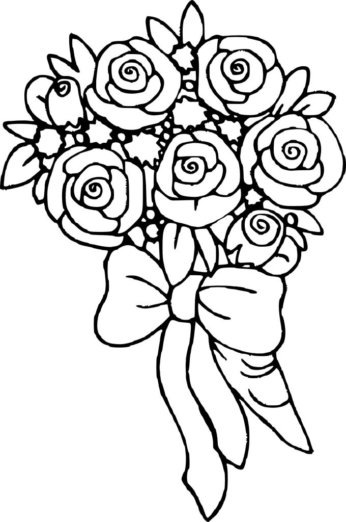 Rose Coloring Pages Bouquet