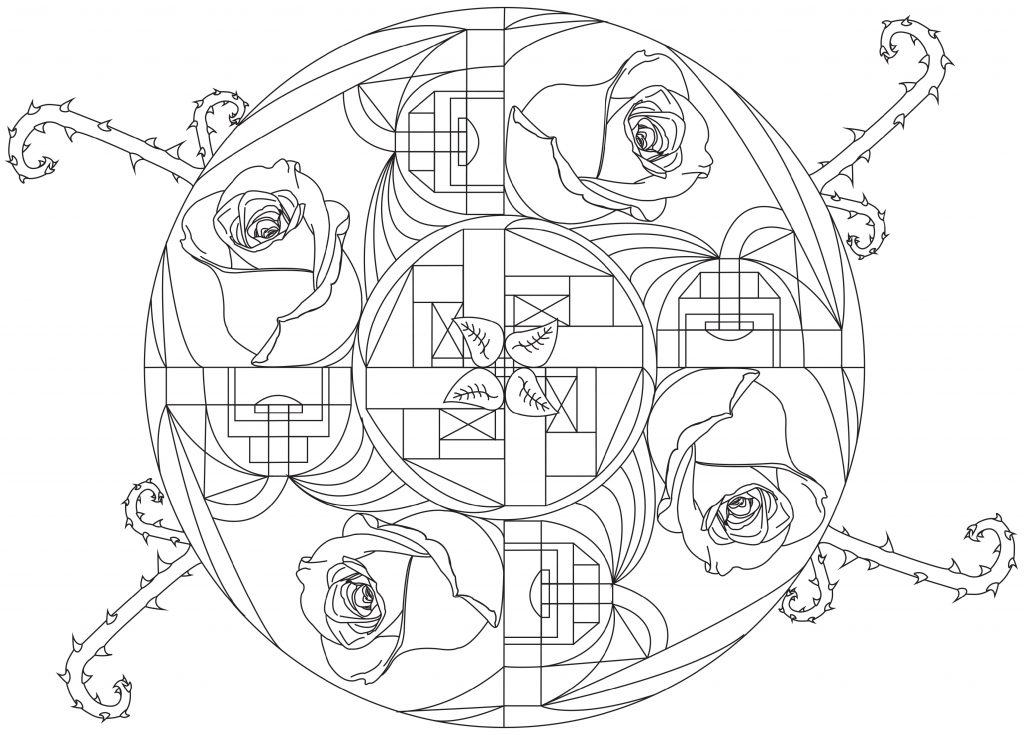 Rose Coloring Pages Mandala