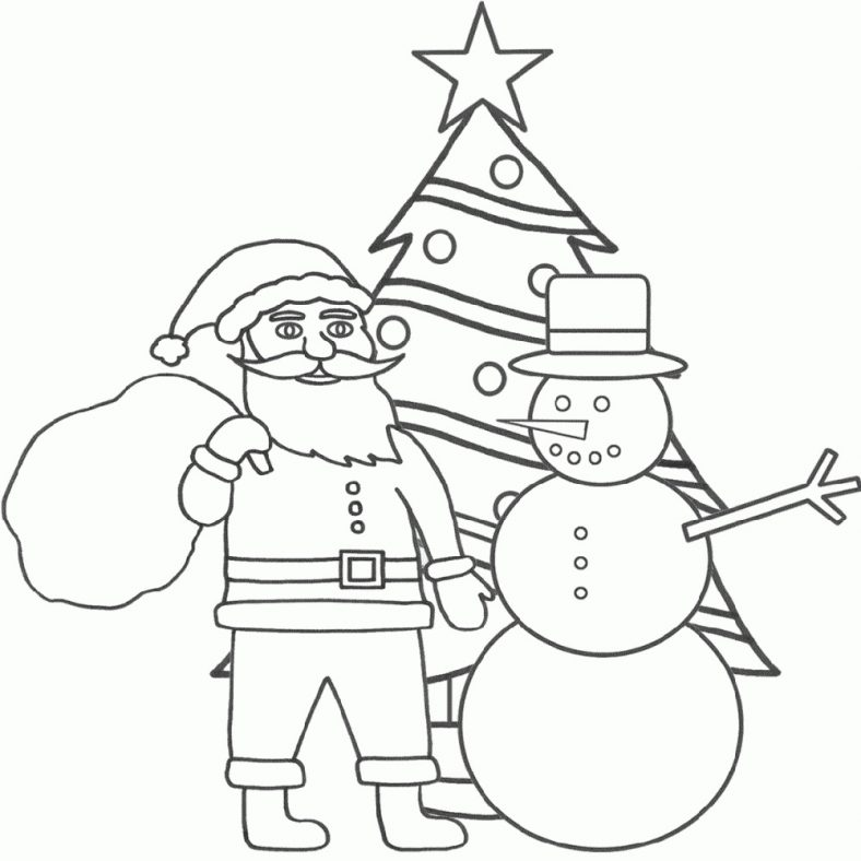 Santa Coloring Pages Christmas Tree