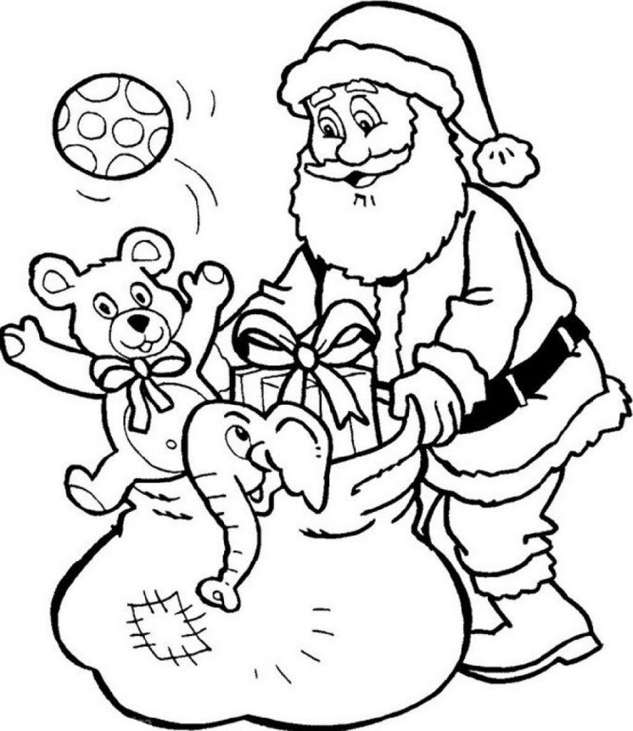 Santa Coloring Pages With Gifts