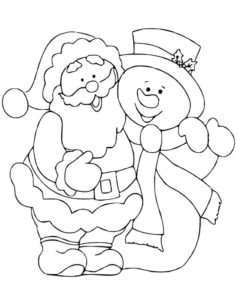 Santa Coloring Pages With Snowman