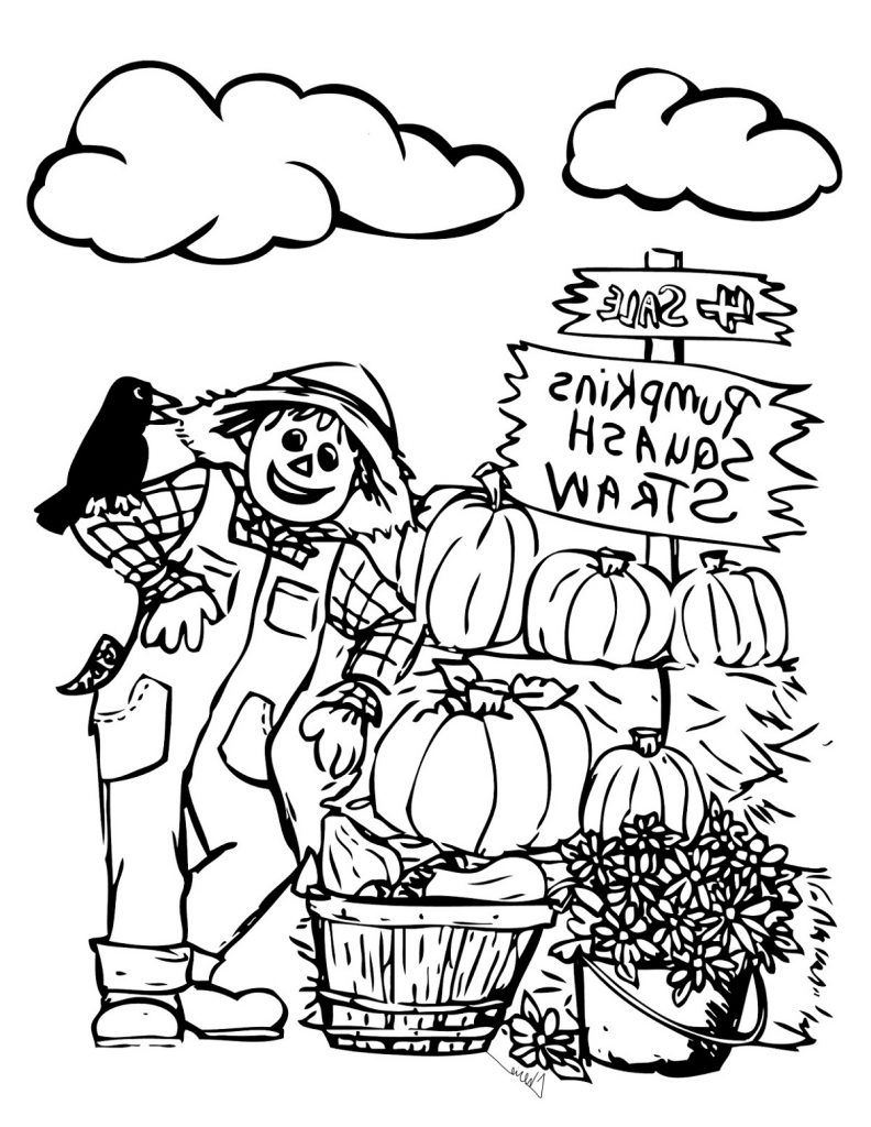 Scarecrow Coloring Page Autumn