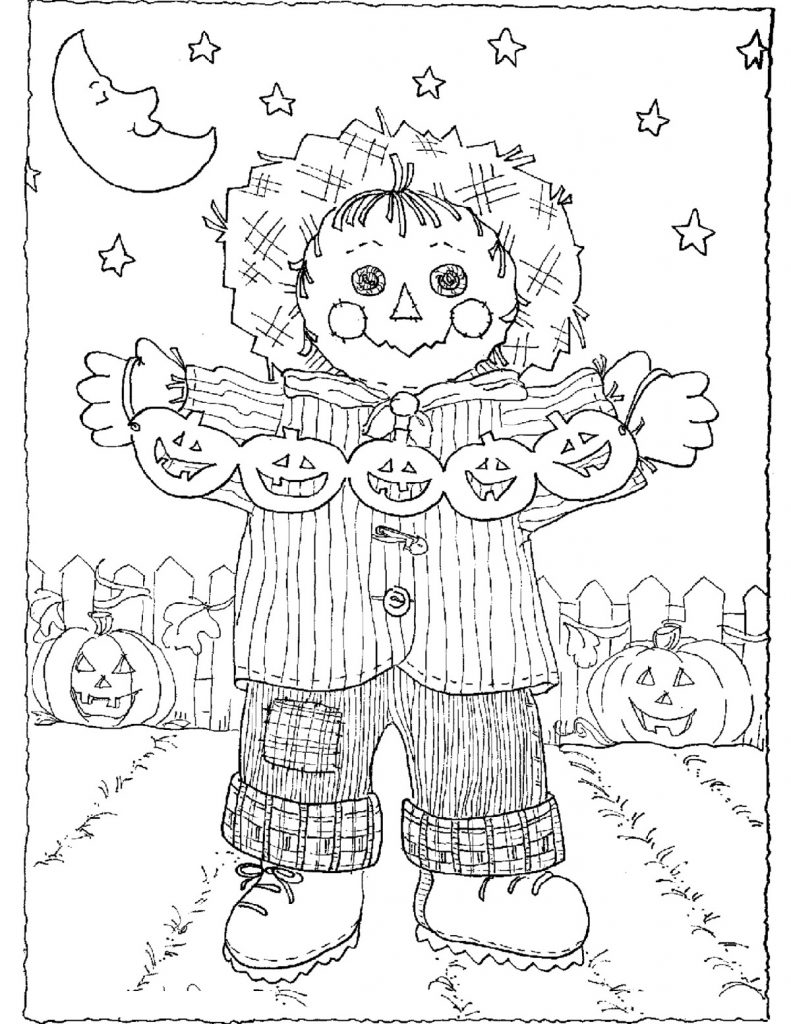 Scarecrow Coloring Page For Kids