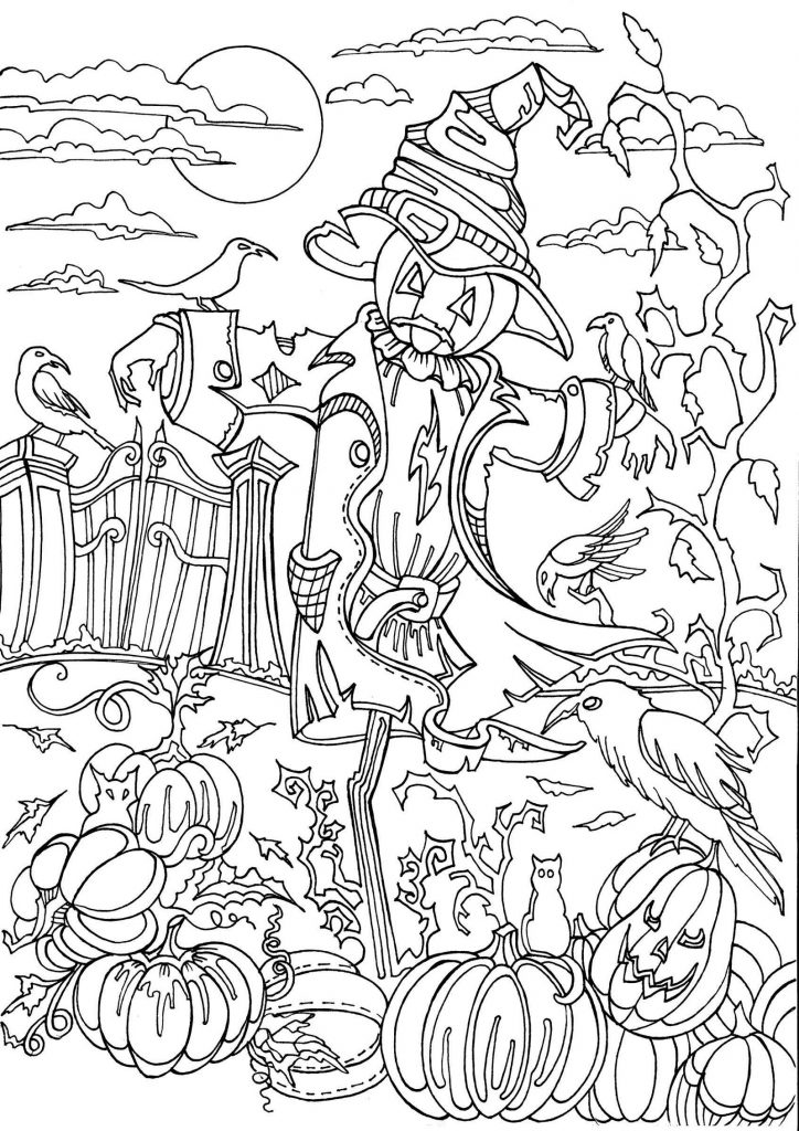 Scarecrow Coloring Page Halloween