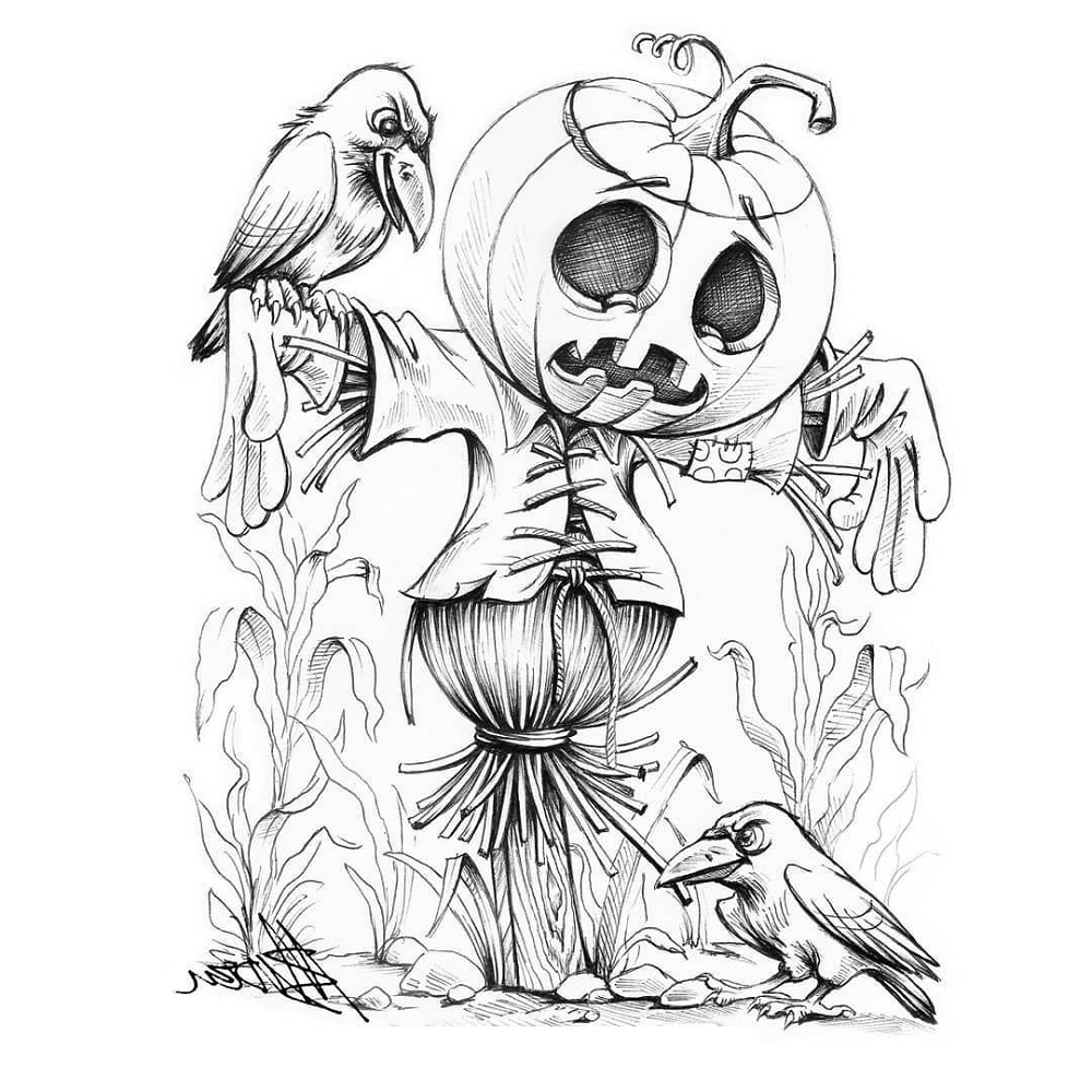 Scarecrow Coloring Page Scary