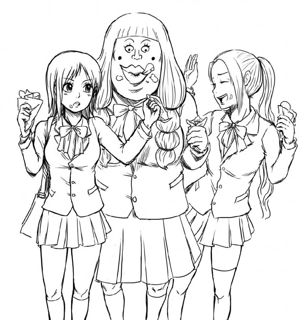 School Anime Girl Coloring Pages