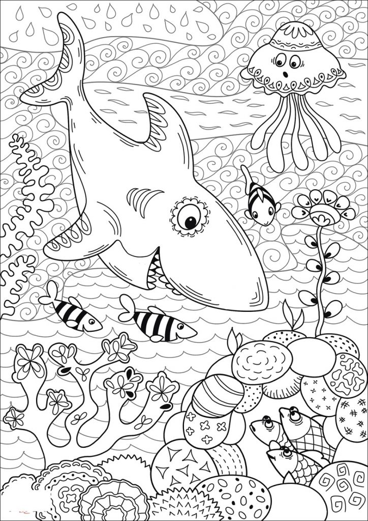 Shark Coloring Pages Under The Sea