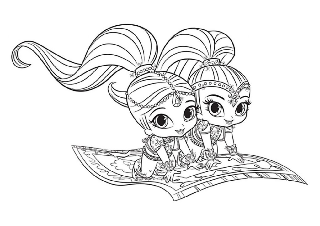 Shimmer And Shine Coloring Pages Magic Carpet