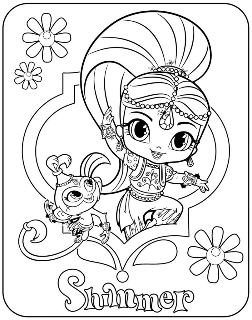 Shimmer And Shine Coloring Pages Shimmer