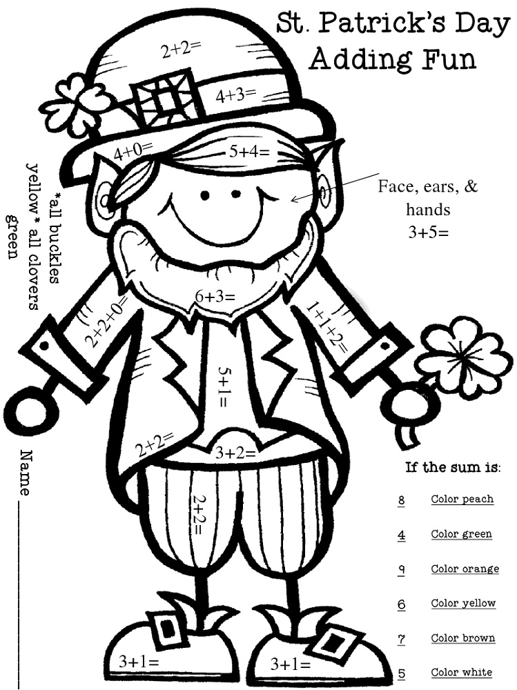 St. Patrick's Day Color By Number Addition Kindergarten