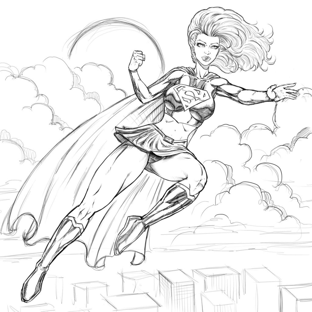 Supergirl Coloring Pages Super Hero