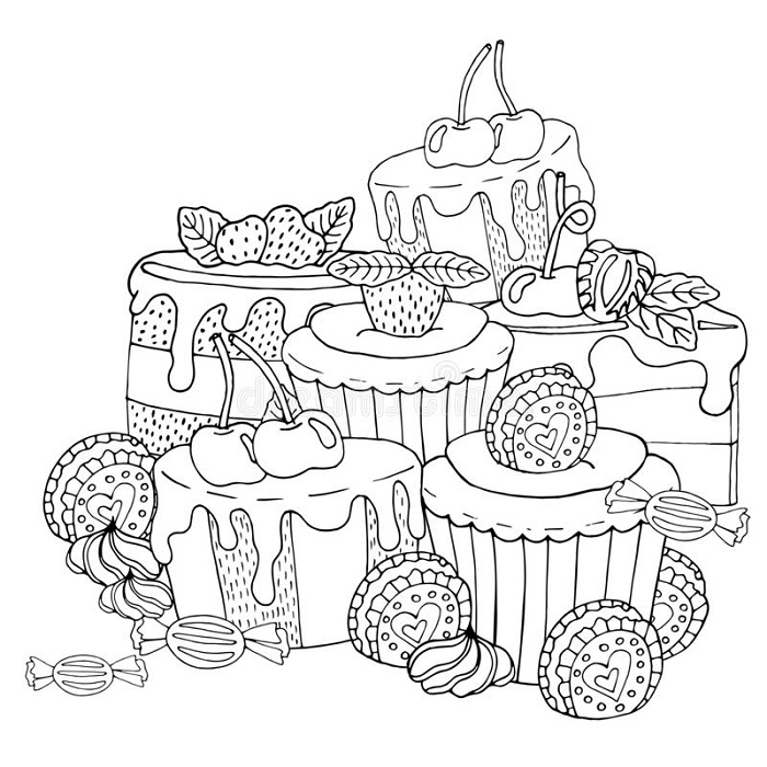 Sweet Cupcake Coloring Pages