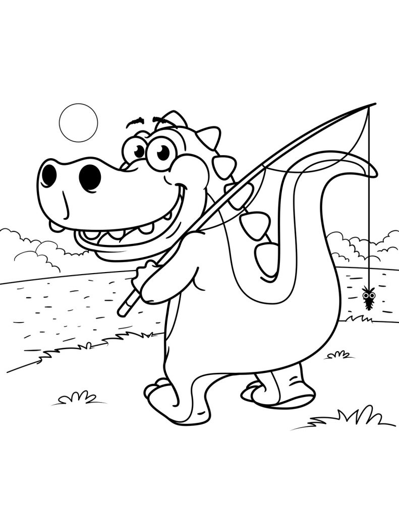 T Rex Coloring Page Cartoon