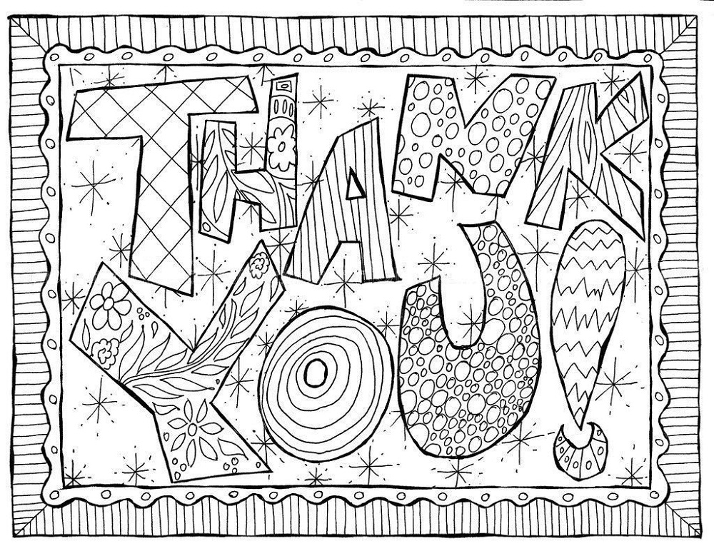 Thank You Coloring Pages Art