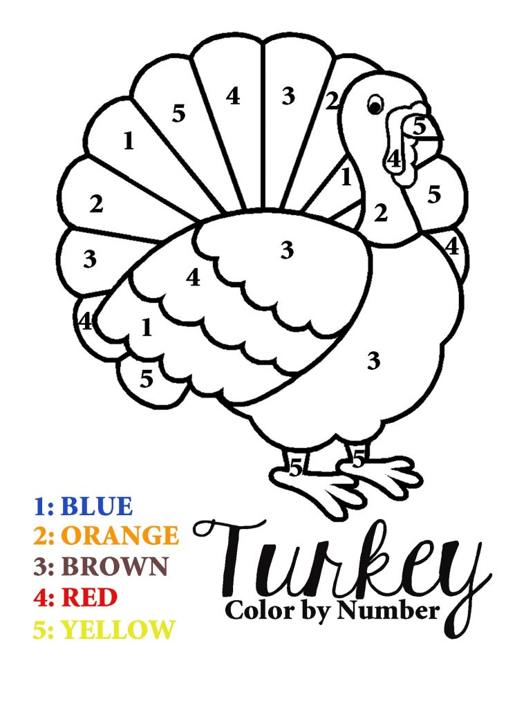 Thanksgiving Coloring Sheets Color By Numbers